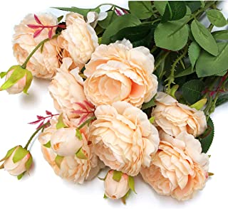 MaxFlowery New Mixed Blooms & Buds Silk English Cabbage Rose Branches in Peach Pink (4 Sprays/12 Stems Box), Faux Flowers Greenery for Wedding Home Business Decoration
