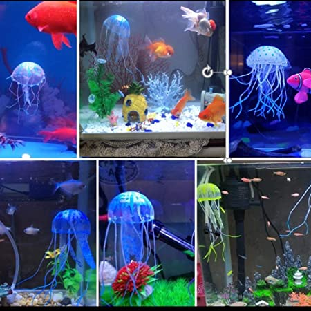 Silicone Fish Tank Ornaments 7x2 Inches 6 Pieces Adds Beauty to Freshwater and Saltwater Tanks and Terrariums Colorful Decor Glows in Blacklight SunGrow Jellyfish Aquarium Decorations