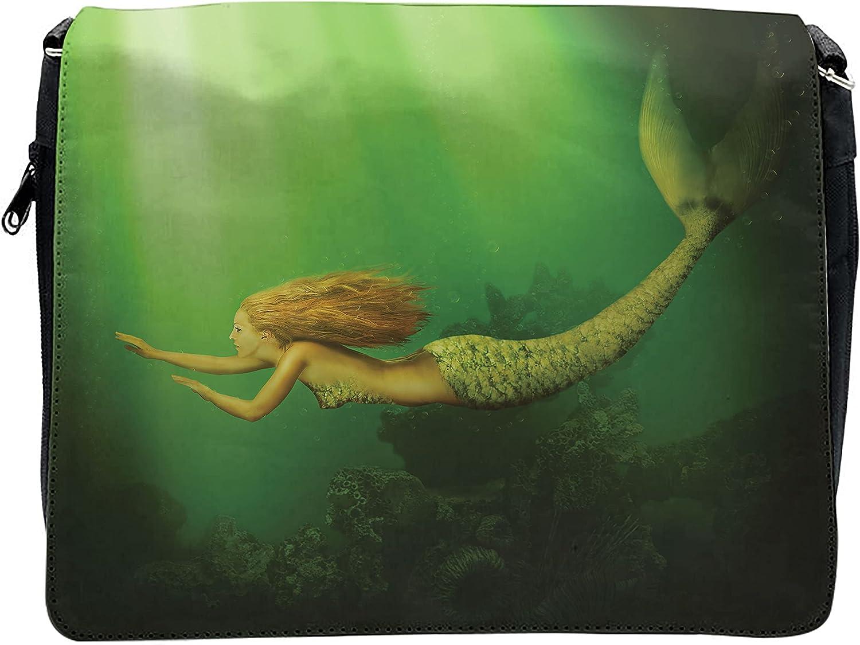 Ambesonne Ocean Cross Body Messenger Bag, Mermaid with Fish Tail, Unisex