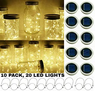 Upgraded Solar Mason Jar String Light Lids, 10 Pack 20 LED Fairy Firefly String Light Inserts with 10 Hangers Starry Lighting, Waterproof and Rust Resist for Patio Lawn Garden Wedding (Warm White)
