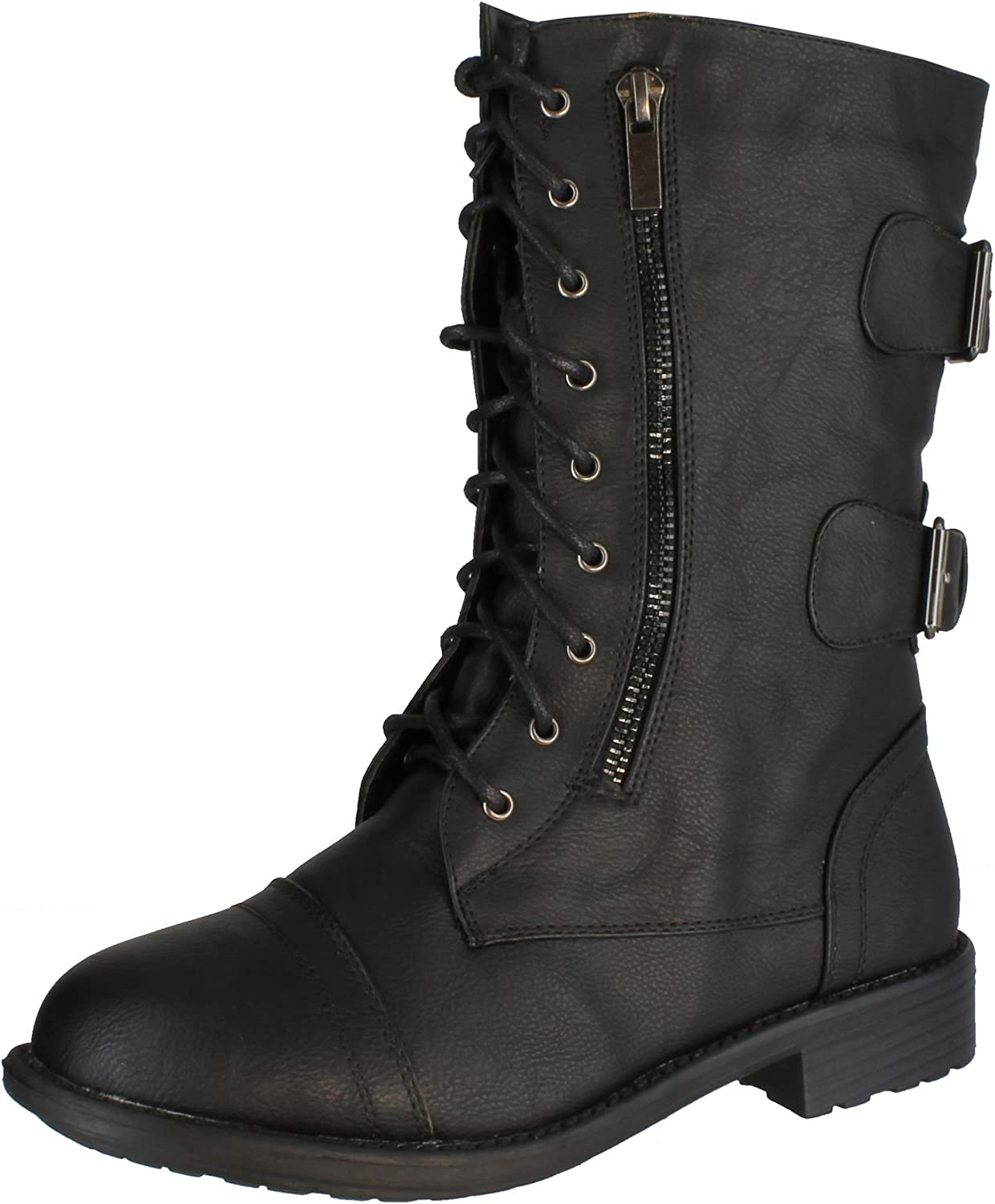 TOP Moda Women'S Pack-72 Military Lace Up Combat Boot