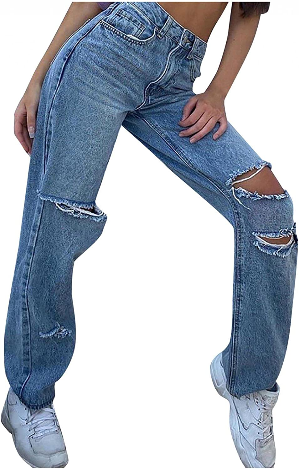 Aiouios Jeans for Women Y2K Fashion High Waisted Stretch Ripped Hole Jeans Distressed Denim Pants Vintage Streetwear