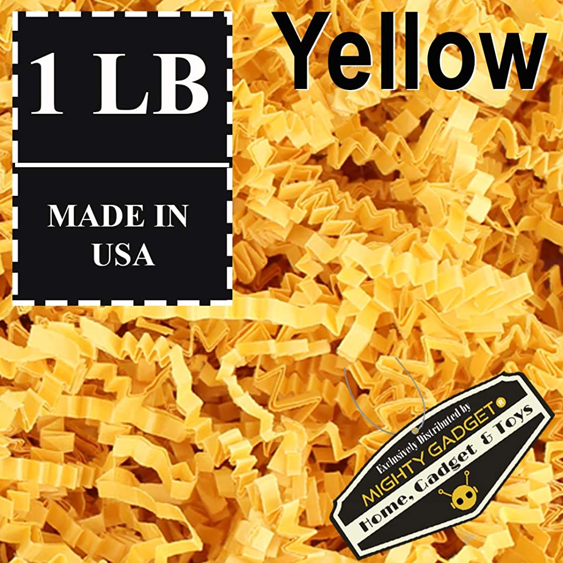 Mighty Gadget (R) 1 LB Yellow Crinkle Cut Paper Shred Filler for Gift Wrapping & Basket Filling
