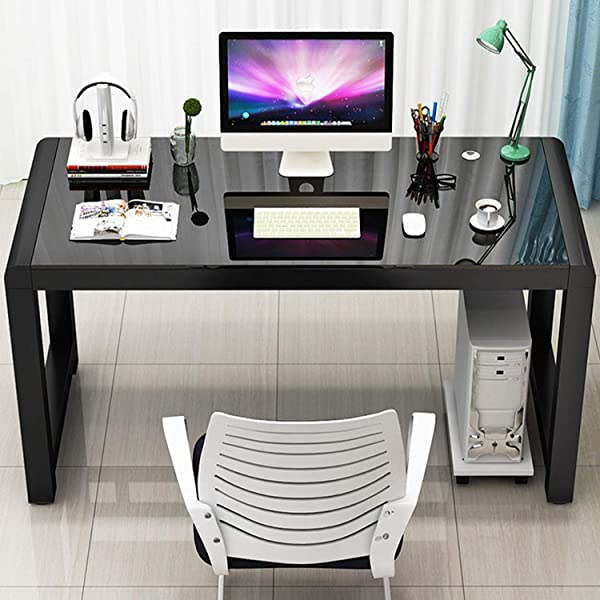 Jerry Maggie Tempering Glass Surface Desk Laptop Computer Desk Dinning Cocktail Table USB Accessory Attributes Professional Office Desk Modern Plain Rectangular Legs Personal Workstation Black