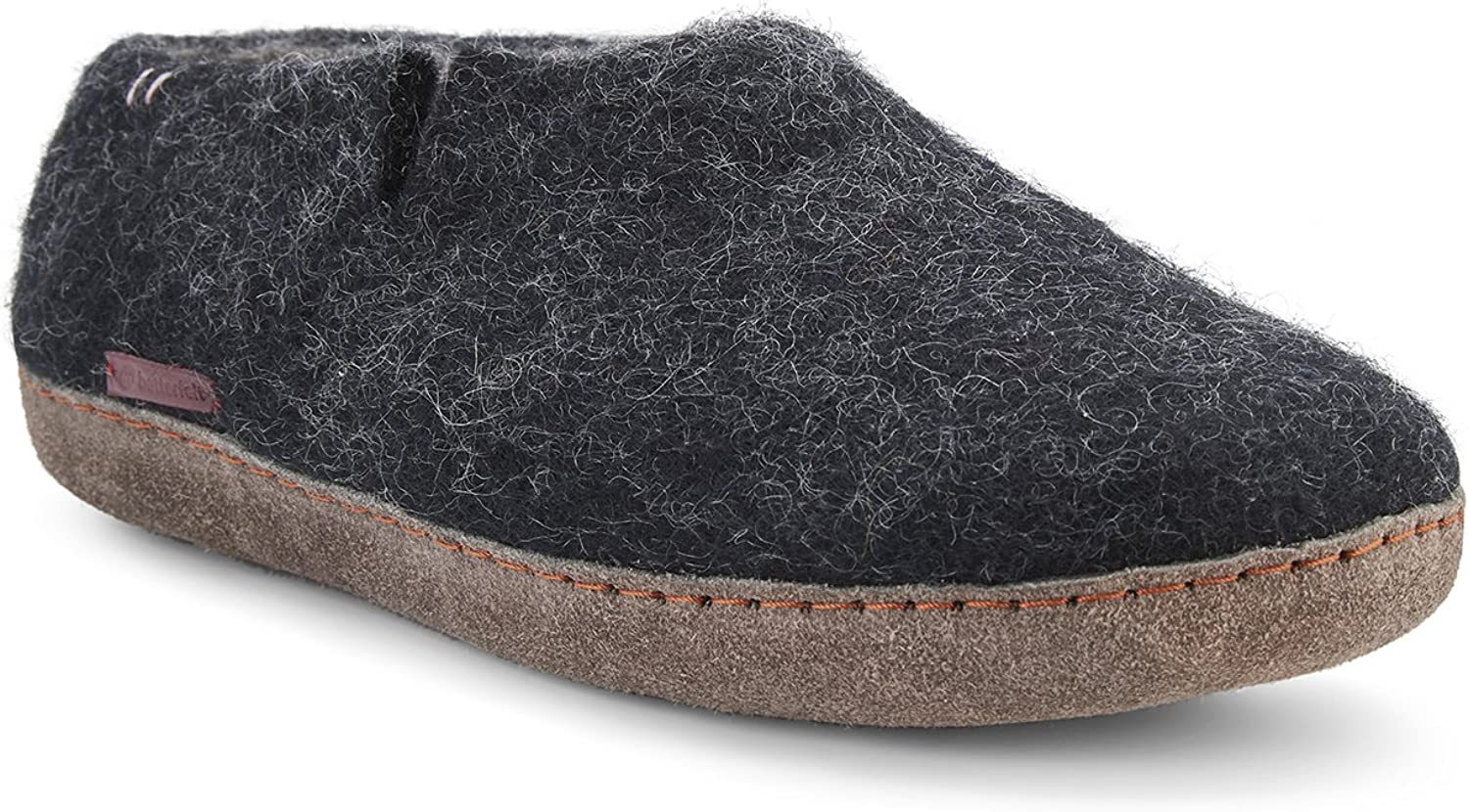 Betterfelt Hand Felted Wool Slippers for Men - Hide Sole - Size 12 - Black - Fairtrade Classic shoes