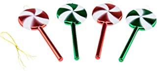 Clever Creations Shatterproof Christmas Tree Spiral Lolipops Ornaments Red and Green Colored Sparkling Glittery Christmas Decor | 4 Piece Set Perfect for Christmas Decorations