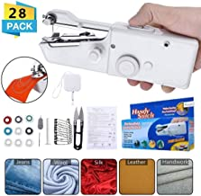 Handheld Sewing Machine Bowin Portable Electric Stitching Machine Cordless Craft Mini Beginner Sewing Machine Fit DIY Curtains Pet Clothes Home Travel with Extra Bobbin, Needle and Threader 28 Pcs
