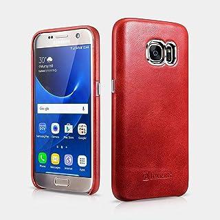 Icarer Back Cover For Samsung S7 Genuine Vintage Leather Hand Made, Red