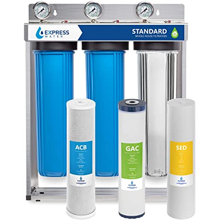 Aquaboon Big Blue 20 X 4 5 3 Stage Whole House Water Filter System 1 Port Bracket Sediment Pleated And Carbon 5 Micron Certified According To Nsf Amazon Com