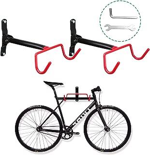 Voilamart Bike Wall Mount Hanger, 2pcs Indoor Storage Rack, Garage Bicycle Holder Hook Folding Space Saver with Screws, 66lb Max Capacity