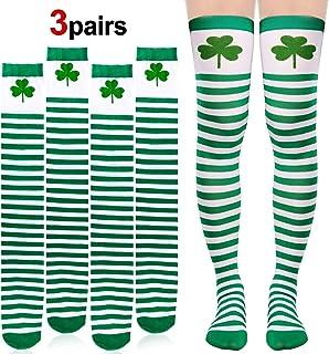 HOWAF, HOWAF 3 Pares Trébol Irlandeses Calcetines hasta la Rodilla para Día de San Patricio High Medias de Seda Verdes y Blancas para Accesorios de Fiesta de Disfraz para Mujeres niñas