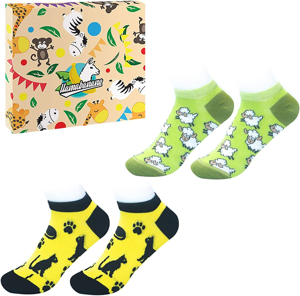 llamabanana/® 2 Pairs Kids Socks in Box Ankle Boys Girls Unisex Made in Europe Quality Cotton Colourful