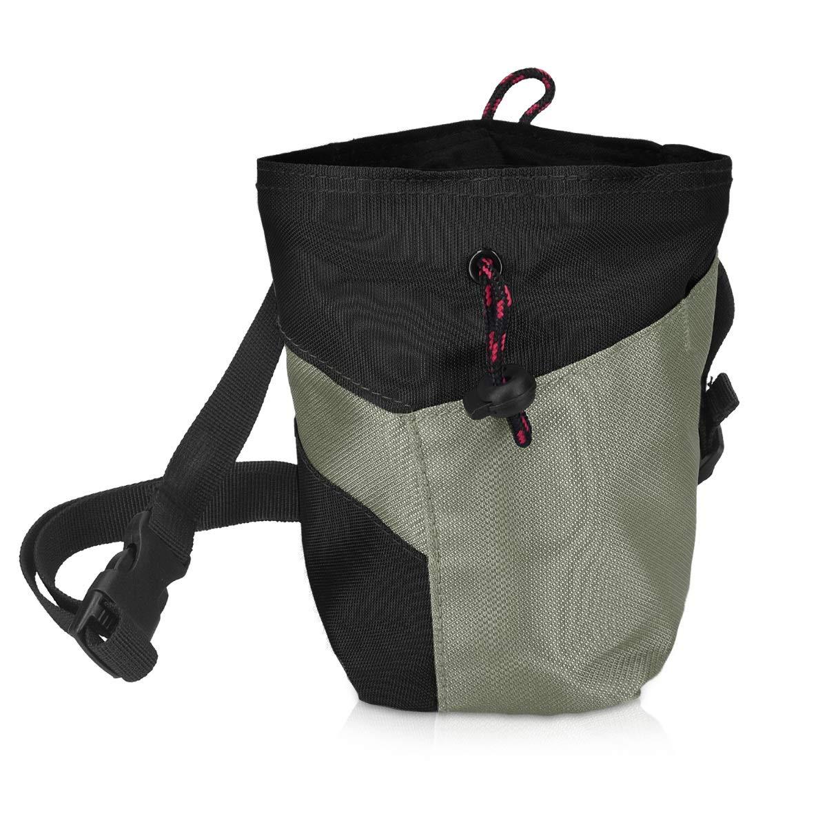 Navaris Bolsa de magnesio para Escalada - Bolso para almacenar Tiza o carbonato de magnesio - Cinturón Ajustable para Transportar Polvo para Escalar: Amazon.es: Deportes y aire libre