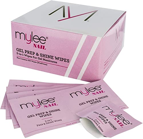 Mylee Lingettes de Préparation et de Brillance pour Gel de Qualité, Nettoie le Gel UV/LED, Double Usage pour Nettoyer...