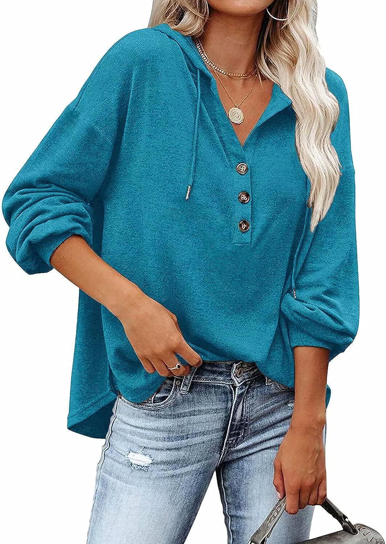 Financial sales sale REVETRO Womens V Neck Long Sleeve Swea Shirts Henley Button Down Popular standard