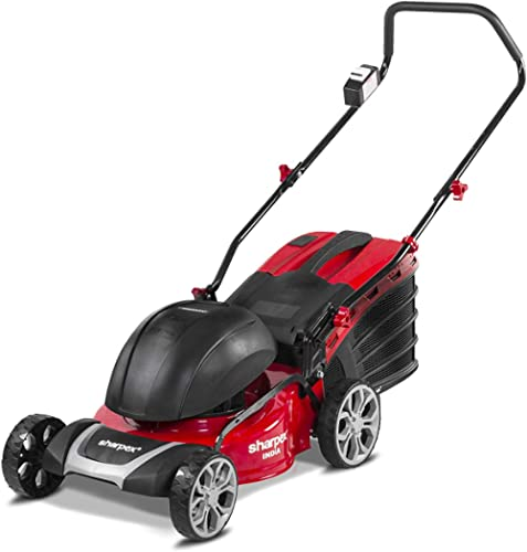 Sharpex 1800 Watt Electric Lawn Mower | Single Phase 2.5 HP Mottor, Folding Handle and Detachable Collection Box | Ad...