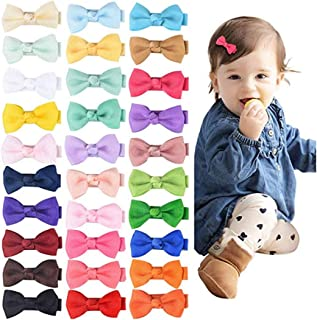 YALUN Tiny No Slip Hair Clips for Baby Girls Toddlers Fully Lined 2-3 inch Ribbon Hair Bow Alligator Clips Hair Accessorie...