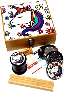 Unicorn Design - Large size Sacred Geometry Stash Box with Latch, Grinder & Pop Top Glass Jar Package & Free Accessories Item# LBCS020818-11