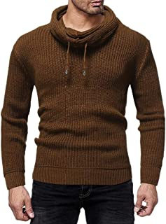 chenshiba-AU Men's Knitting Warm Trendy Pullover All Match Pile Collar Solid Color Winter Sweater