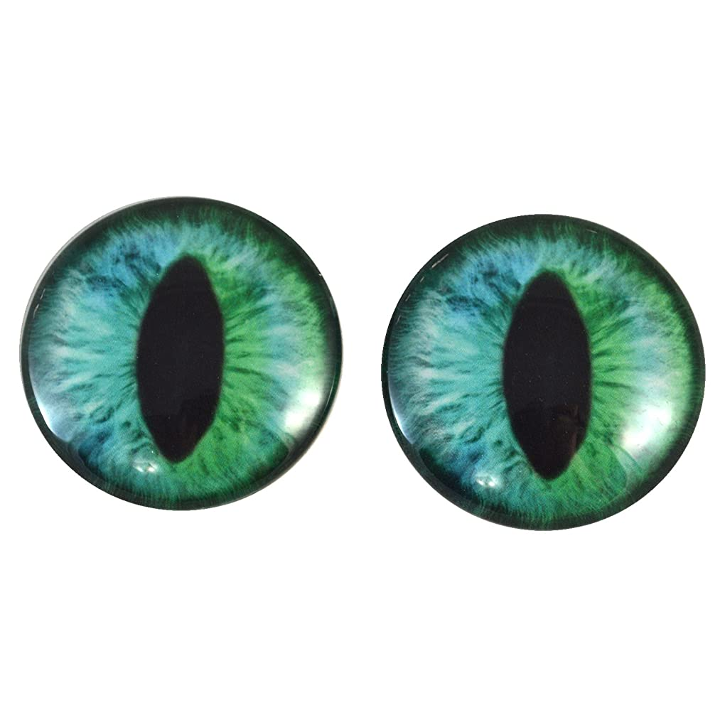 30mm Blue and Green Cheshire Cat or Dragon Glass Eyes Pair for Art Dolls, Sculptures, Props, Masks, Fursuits, Jewelry Making, Taxidermy, and More