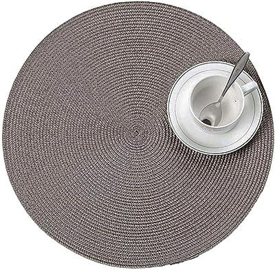 pzkwmfv 38cm Diameter Woven Placemat Fashion Table Mat Disc Pad Bowl Mat Coaster Waterproof