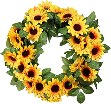 VOSAREA Artificial Sunflower Wreath,Flower Wreath Garland for Front Door Indoor or Outdoor Wall Wedding Porch Home Chirstmas Decoration Yellow