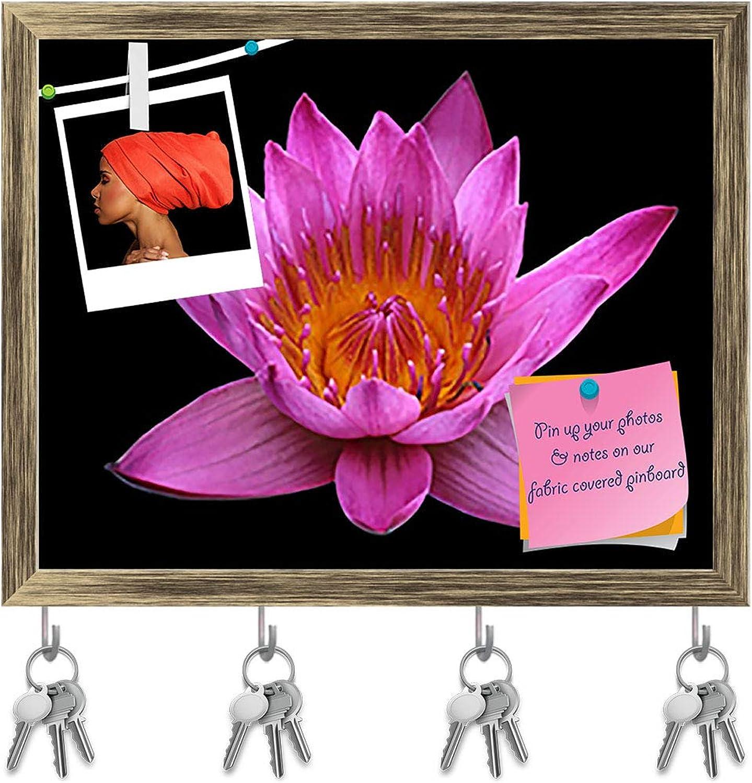 Artzfolio Pink Lotus Flower Key Holder Hooks   Notice Pin Board   Antique golden Frame 20 X 16Inch