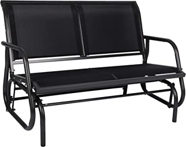 Outdoor Patio Swing Glider Bench-Loveseat Mesh Seating and Smooth Glide Rocker 2 Person Chair with Weather Resistant Steel Fr
