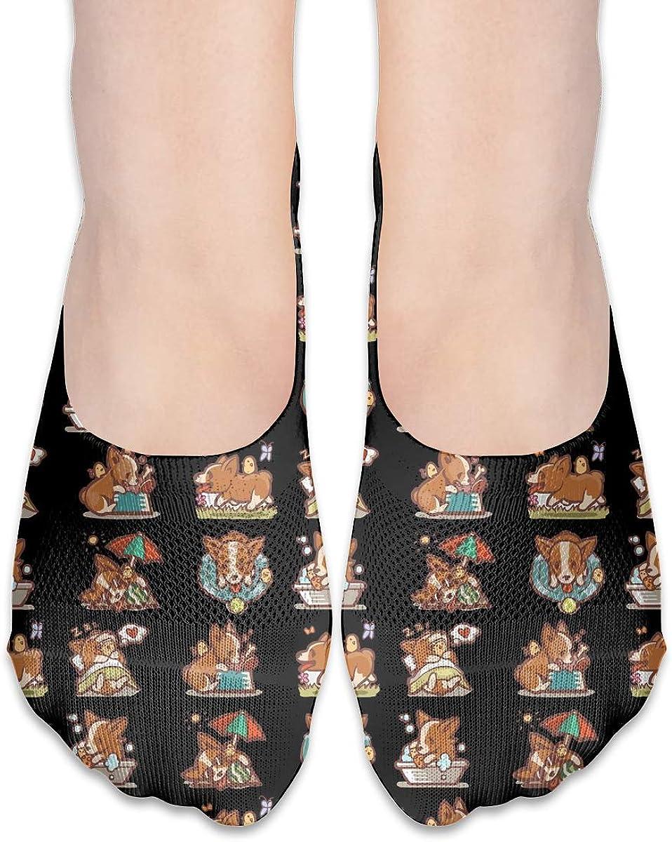 No Show Socks Women Men For Cartoon Corgi Welsh Emoticon Flats Cotton Ultra Low Cut Liner Socks Non Slip