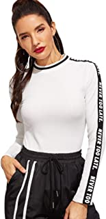 SweatyRocks Women's Long Sleeve Letter Print Slim Fit Ribbed Knit Tee Shirt Top