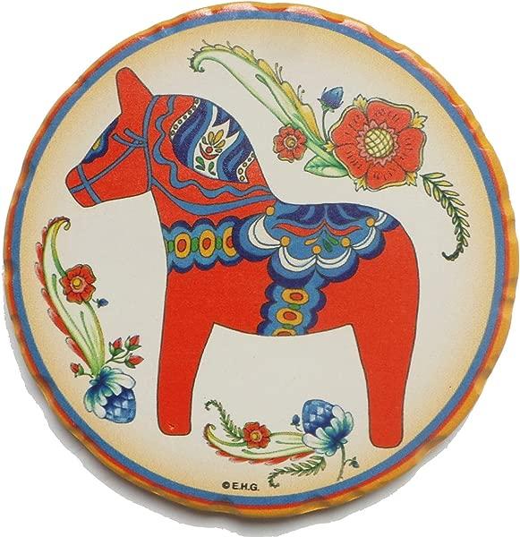 Ceramic Coaster Set Gift Red Dala Horse