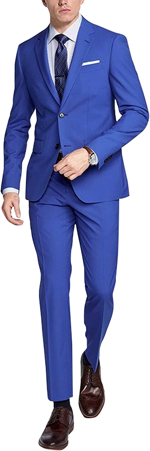 Spazeup New Mens Whitehall Royal Blue 2 Piece Party Wear Suit
