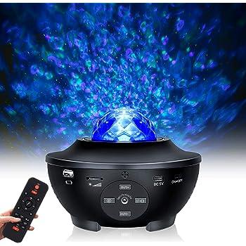 Luci notturne per bambini, Proiettore stelle con altoparlante Bluetooth lampada, Proiettore di luce stellare oceaniche con telecomando, compatibile con Flash USB, per Regali, Casa e Festa - Nero
