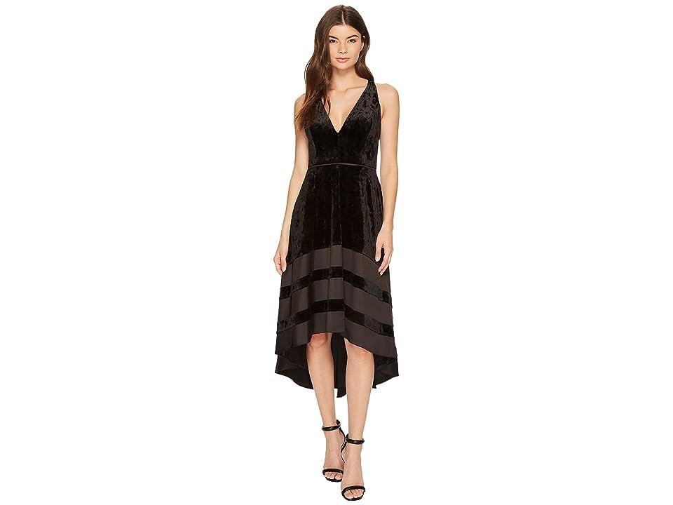 Aidan Mattox Velvet and Satin Dress (Black) Women