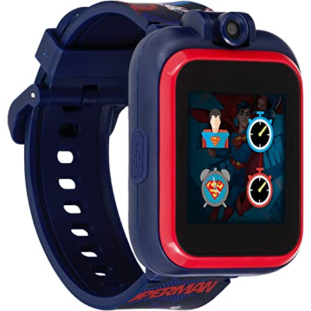PlayZoom Superman Kids Smartwatch - Video and Camera Selfies Music Learning Educational Fun Interactive Games Touch Screen Sports Digital Watch Birthday Gift for Kids Toddlers Boys Girls Fun Prints