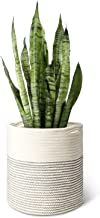 Mkono Cotton Rope Plant Basket Modern Indoor Planter Up to 11 Inch Pot Woven Storage Organizer with Handles Home Decor, 12