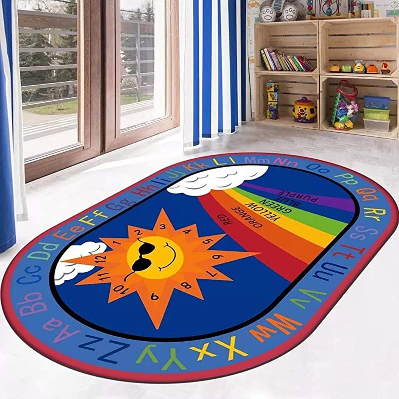 JIFAN Educational Kids Area Rugs Children Learning Rugs With ABC Numbers Shapes Animal Large Carpet Vibrant Alphabet Play Mat For Children Bedroom Living Room Nursery Classroom Sun Rainbow