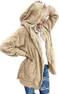 Women Casual Fuzzy Fleece Hooded Cardigan Pocket Faux Fur Outerwear Coat