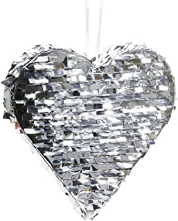 Andaz Press Silver Foil Fringe Pinata, 18-inch, Heart, 1-Pack, Wedding 25th 50th Anniversary Graduation New Years Eve 2018 2019 2020 Hanging Decorations