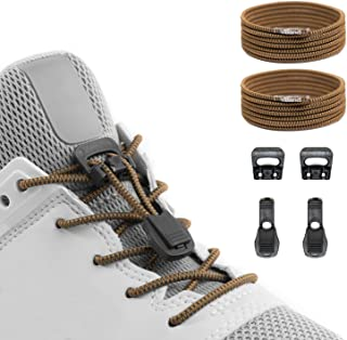 Quick Release Round-Lacing No Tie Shoelaces System with Elastic Laces - One Size Fits All Adult and Kids Shoes