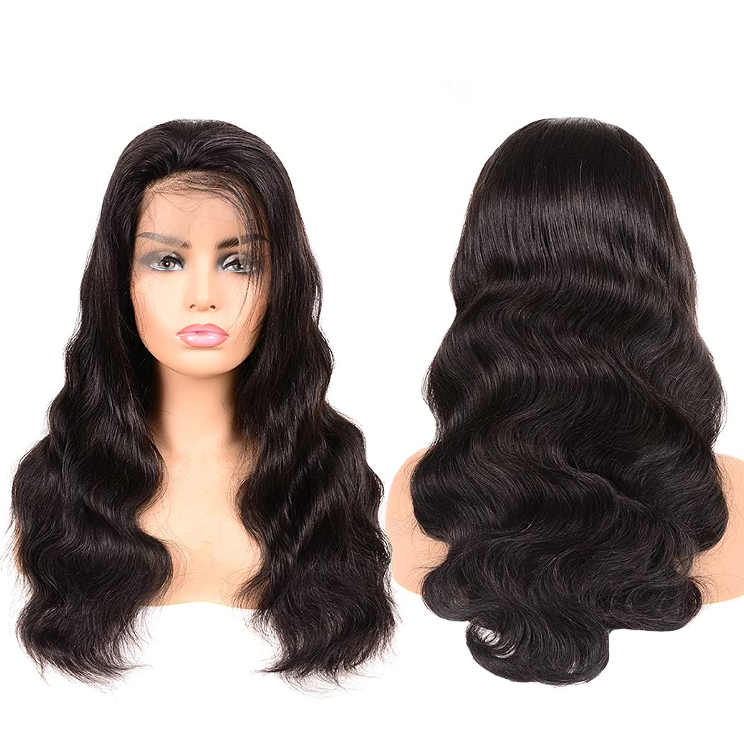 Full Lace Wigs Human Hair 14inch Body Wave Human Hair Wigs with Pre Plucked Hairline Human Hair Lace Wigs 180% Density