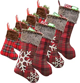 WUJOMZ Set of 8 Christmas Stockings, 18 Inches and 9 Inches Burlap with Large Plaid Snowflake and Plush Faux Fur Cuff Stockings, for Home Decor
