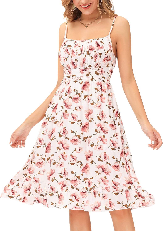 GRACE KARIN Women's Spaghetti Strap Floral Dress Ruffle Hem Pleated Casual Summer Dress Boho Flowy Midi Beach Dress