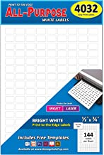 """Pack of 4032, 1/2"""" x 3/4"""" White Rectangle Labels, 8 1/2 x 11 Inch Sheet, Fits All Laser/Inkjet Printers, 144 Labels per Sheet, 0.5 x 0.75 Inches"""