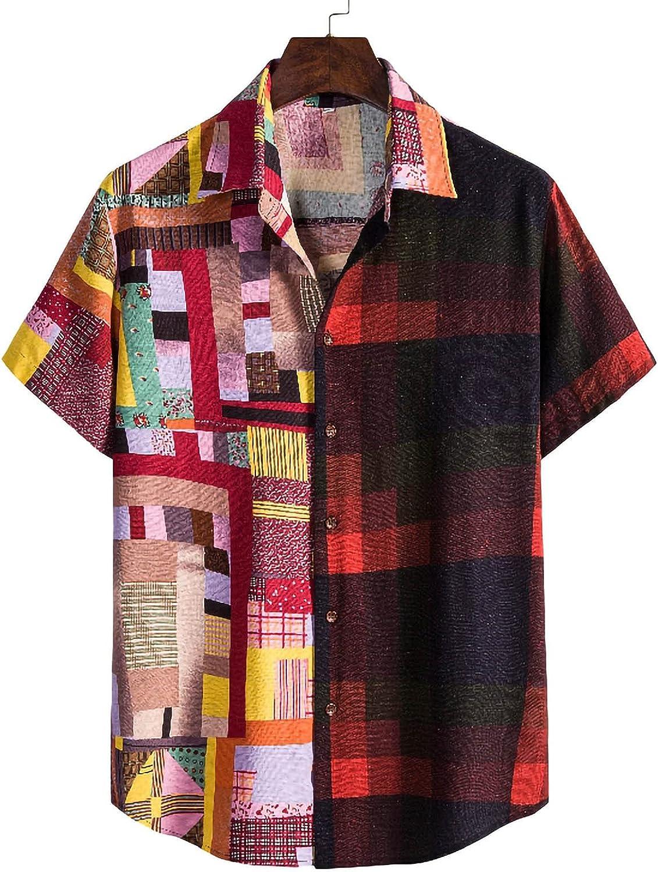 Hawaiian Shirts for Men Short Sleeve Aloha Beach Shirt Floral Print Blouse Summer Casual Button Down Shirts