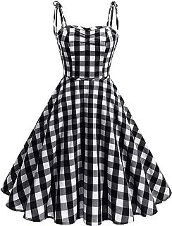 Women's Vintage Polka Audrey Dress 1950s Retro Plaids Cocktail Dress