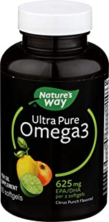 Nature's Way Ultra Pure Omega-3 Fish Oil Supplement, Citrus Punch Flavor Softgels, 60 Ct