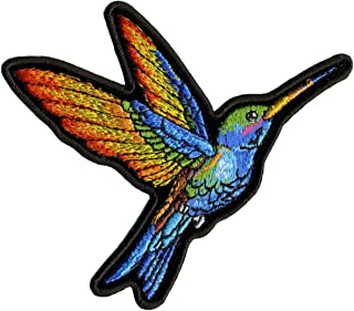 Hot Leathers, HUMMINGBIRD SMALL, High Thread EMBROIDERED Iron-On / Saw-On Rayon PATCH - 4