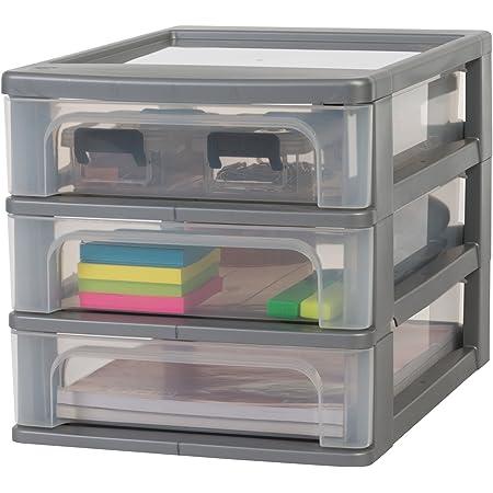 Amazon Basics OCH-2030 Silver/C Tour de rangement à 3 tiroirs Organizer Chest, Plastique, Gris, 3 x 4 L