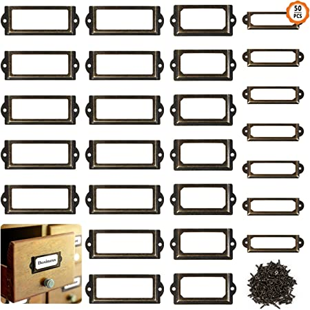 8X ML Vintage Label cadres de tiroir en métal porte Mercerie porte-étiquette Pull